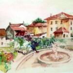 Piazza di Tambre acquerello