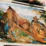 """Traino di legname"" - pittura murale su casa di Broz"
